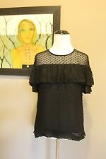 NWD J Crew Edie Top in Textured Clip Dot Black Sz 00 F8992