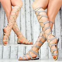 NEU Damen Schuhe Sommer Damen Sandalen Riemchen Gladiator Schnürer Party SeXy