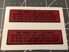 Briggs & Stratton Oil Bath Air Cleaner decal 2 for 1
