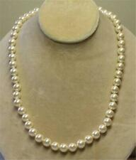 """JOAN RIVERS GOLD EP HAND KNOTTED 10mm CREAM CZECH GLASS BEAD 30"""" NECKLACE NEW"""