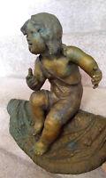 Boy Seated on Rug Antique Brass Sculpture Edge Statue Figurine