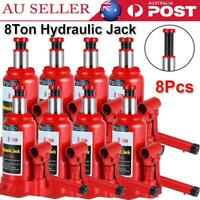 8 Pc Portable 8 Ton Hydraulic Bottle Jack Car Truck Caravan Tractor SUV Ute 4WD
