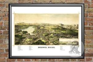 Vintage Monson, ME Map 1889 - Historic Maine Art - Old Victorian Industrial