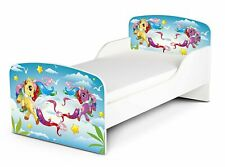 Weißes Holz Kinderbett 140/70 cm mit Matratze Thema: Pony