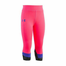 New Under Armour Girls Athletic Cropped Leggings Pants Size 4, 6 Pink