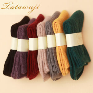 5 Pairs Womens Wool Cashmere Thick Warm Soft Comfort Casual Solid Winter Socks