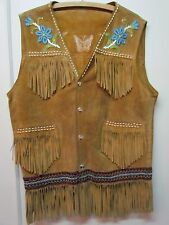 Fringe and Unlined Leather BEADED VEST, HANDMADE, UNISEX, Large, 30 inches long