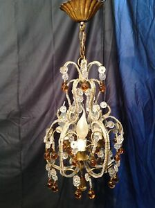 1930 wonderful 3 candles French amber Drop Crystal pearls beaded cage Chandelier