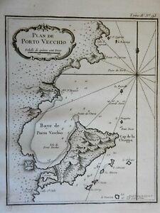 Porto-Vecchio Corsica Mediterranean Island France Fortifications 1760 Bellin map