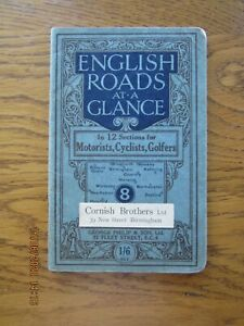Early Philips Map of English roads at a glance for Motorist, Cyclists, Golfers.