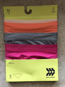 All In Motion Seamless Bikini Underwear Girls Sz Medium 7/8 Nylon Spandex 4 Pack