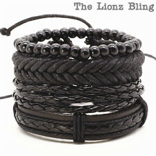 Urban Bohemian style Black motif Stacked Leather & Wood Bead Bracelets