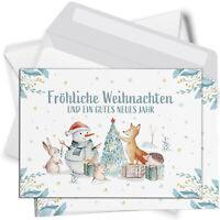 15 Weihnachtskarten mit Umschlag Set Grußkarten Weihnachten Tiere aquarell