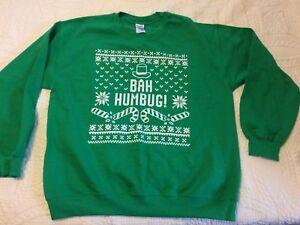 Bah Humbug  Ugly Christmas Sweater Sweatshirt  Xmas sweatshirt L NWOT