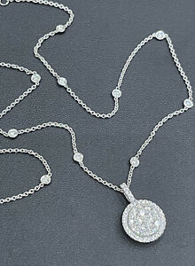 Cervin Blanc 18ct White Gold Diamond Necklace 1.65ct Circle Of Life By The Yard