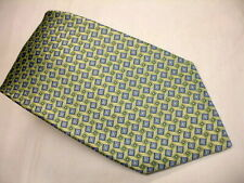 BURMA-BIBAS Woven Self Tipped Lite Green & Blue Geometric Des. Silk Tie EXCELENT