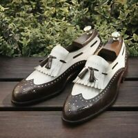 Handmade Men's Brown&White Wing Tip Brogues Tassel Fringe Leather Oxford Shoes