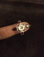 .925 Genuine Sterling SILVER  Ring Jewelry With Garnet (lab) Size 8