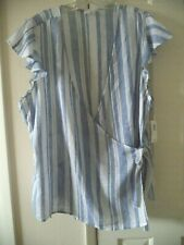 Old Navy Blue White Tie Front Wrap VNeck Ruffle Sleeve Peasant Top 1X 14 16 XL