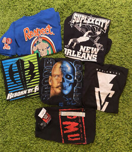 6 Wrestling Shirt Lot WWE WWF WCW NWO New HARDY WRESTLEMANIA Austin CENA