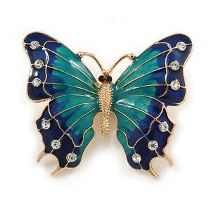 Grün/dunkelblau Emaille Kristall Schmetterling Brosche in Gold Ton - 55mm L