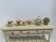 Vintage Artisan Jerry Floor Oriental Dual Sided Tea Set Dollhouse Miniature 1.12