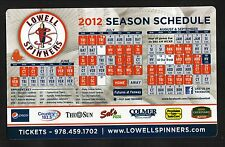 Lowell Spinners--2012 Magnet Schedule--Red Sox Affiliate