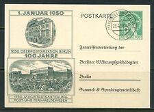 GERMANY BERLIN 1950 GOV'T POSTCARD CANCELLED 29.4.50