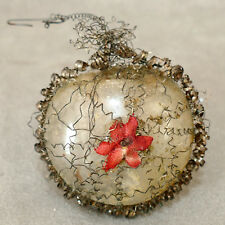 """Christmas Ornament Glass Wire Wrap Heart Flower 2.5"""""""