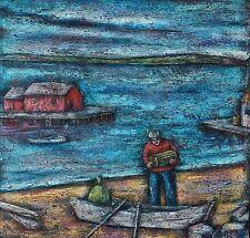 Vintage Encaustic Expressionist Landscape Lake Signed L. J. Miller PA Artist