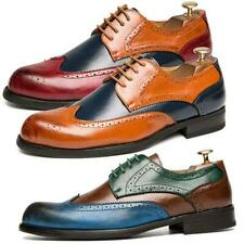Mens Leather Brogues Smart Formal Office Casual Lace Up Flats Brogue Shoes hot g