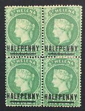 MOMEN: ST HELENA SG #34 1884 EMERALD 1884 BLOCK MINT OG H £80++ LOT #5163