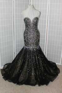 NWT Tiffany Designs 16286 Black/Nude mermaid beaded lace formal gown, Size 8