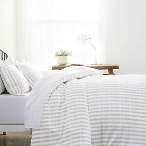 Home Collection Premium Ultra Soft 3 Piece Puffed Rugged Stripes Duvet Cover Set