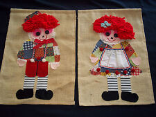 60s Vintage Set of 2 Burlap & Fabric Applique Wall Hanging RAGGEDY ANN & ANDY