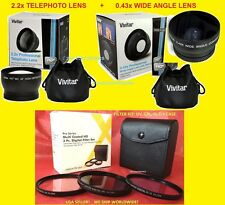 0.43x WIDE ANGLE+ 2.2x TELEPHOTO LENS 67mm+ FILTER KIT CPL UV FL-D VIVITAR P900