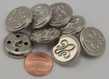 "8 Puffed Silver Tone Metal Fleur De Lis Buttons 13/16"" 20MM # 6277"