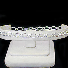 "Silver Ep Chain Foot Ankle Anklet New 11"" Ladies 5mm Fancy Open Curb Link"