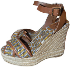 Tory Burch Florian Criss Cross Wedge Sandals Espadrille Embroidered 9 / 39 Shoes