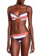 NWT $63 Tommy Bahama Size Small Mare/Coral Stripe String Bikini Bottom Swimwear