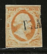 NETHERLANDS Classics...#3...1852...Used w a THIN...SCV $130.00