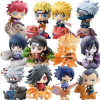 6pcs Naruto Sasuke Uzumaki Kakashi Gaara Action Figures with mount Japan Anime