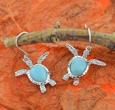 Larimar Turtle Earrings-Sterling Silver-Sea Honu,Ocean,Sea Life,Cute,Dangle,Gift