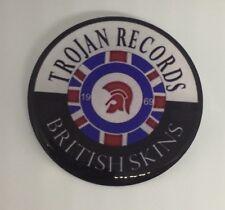 42mm TROJAN RECORDS BRITISH SKINS GEL RESIN DOMED CUSTOM  BADGE VESPA LAMBRETTA