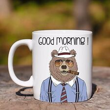 Tazza ceramica ORSO SIGARO GOOD MORNING ANIMAL HIPSTER ceramic mug