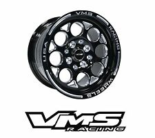 x2 VMS RACING MODULO 13X8 BLACK SILVER DRAG RIMS WHEELS 4X100/4X114 ET20 PAIR