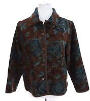 Coldwater Creek Womens Floral Textured Tapestry Jacket Brown Blue Sz PS Petite S