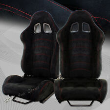 Black Suede Red Stitch TYPE-1 Style Reclining  Racing Seats +Sliders Universal 2