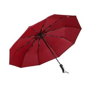10 Ribs Auto Umbrella Black Open & Close Windproof Easy Folding AUTO ON & OFF