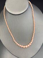 "Vintage Pale Pink 16""Glass Pearl Necklace Signed Japan Wedding Flower Girl Event"